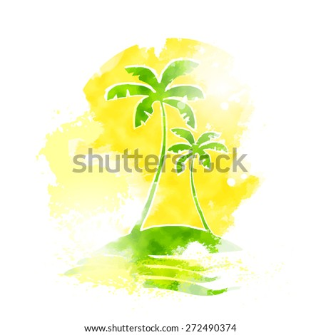 Palm Tree Tropical Island Water Grunge Color Summer Vacation Vintage Vector Illustration  - stock vector