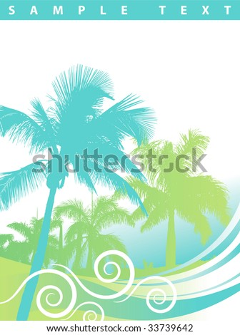 Palm tree wave background - stock vector