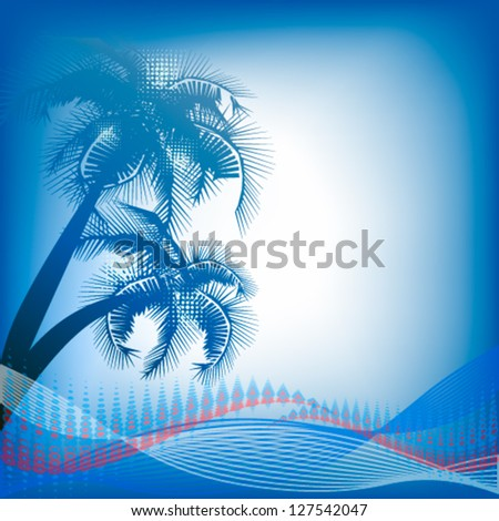 palm tree with the background for an inscription. vector