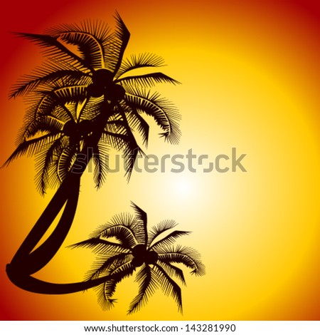 palm trees against a decline - stock vector