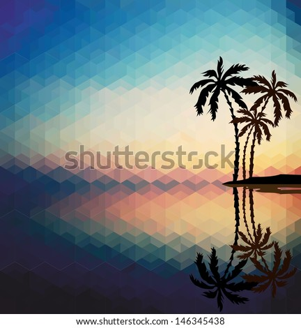 Palm trees against the evening sunset. Psychedelic geometric pattern - stock vector