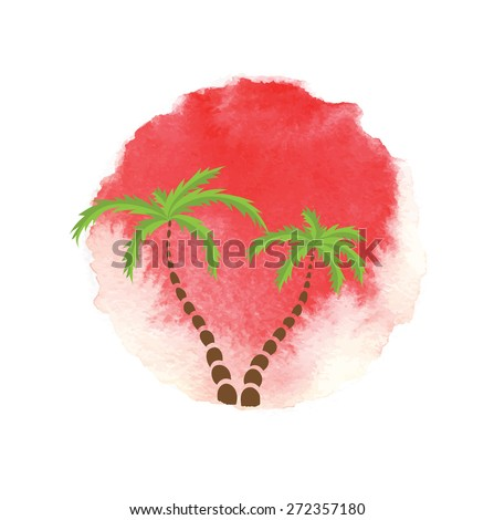 Palm trees against the watercolor sun. Vector logo illustration. - stock vector