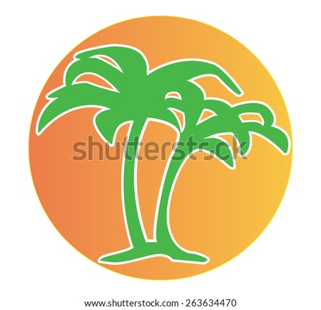 Palm trees and sunset icon/logo (vector image)