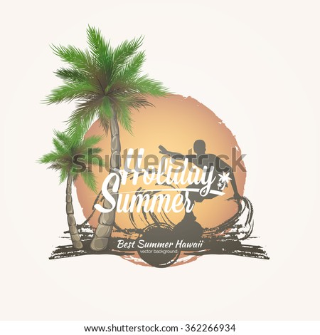 Palm trees grunge summer background. Print for t-shirt and poster summer party. abstract palm poster - stock vector