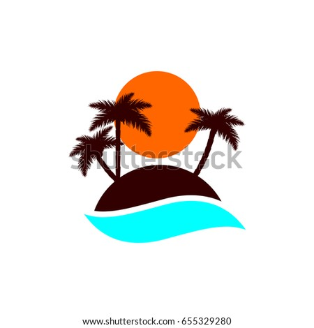 palm trees icon island logo flat stock vector royalty free