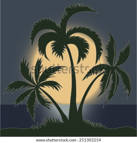 Palm trees in the Moonlight on the Beach - vector - stock vector