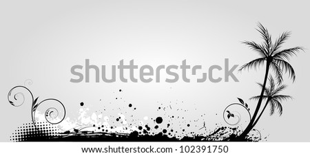 Palm trees on grunge floral background in grayscale color - stock vector