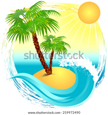 Palm trees on the island - stock vector