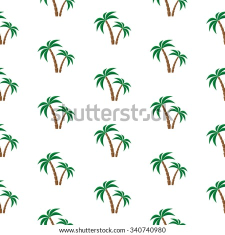 Palm trees. Seamless pattern. Vector illustration on a white background. Swatch inside. - stock vector
