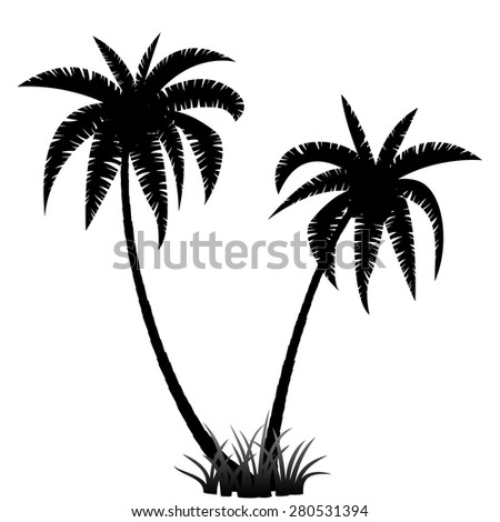 Palm trees silhouette on white background, vector illustration - stock vector
