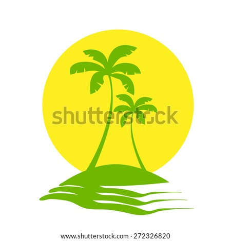 Palm Trees Sun Tropical Island Icon Vector illustration
