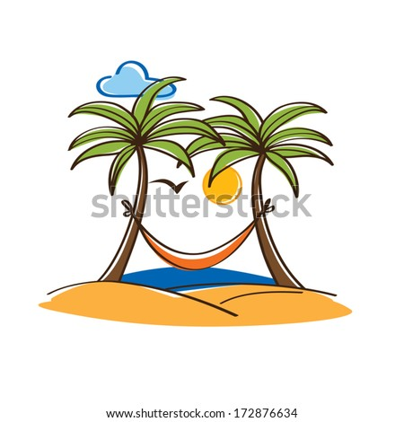 palm trees with a hammock - stock vector