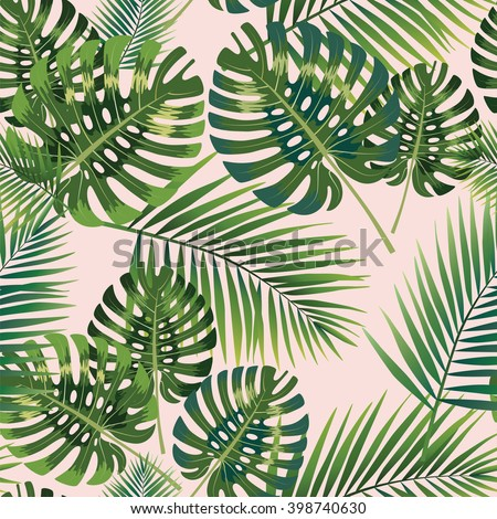 Palm Tropical leaves seamless pattern. Vector illustration. - stock vector