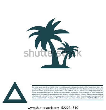 palm tropical tree icon (silhouette). vector illustration
