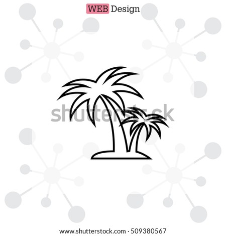 palm tropical tree line icon silhouette.