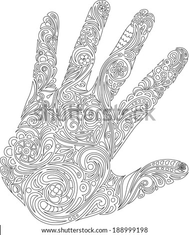 Palm with drawing (contour) - stock vector