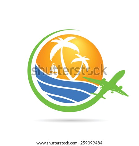 palm with sea with airplane icon color vector - stock vector