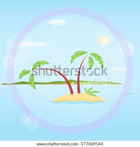 Palms and a town - stock vector