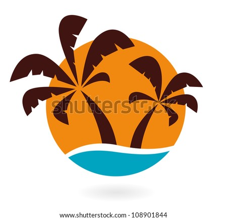 Palms icon isolated on white - stock vector