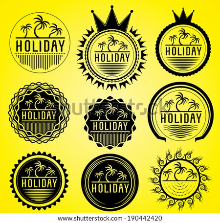 palms on the beach holiday stamps vector - stock vector