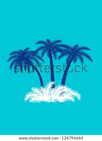 Palms on the island - vector travel illustration with palm trees