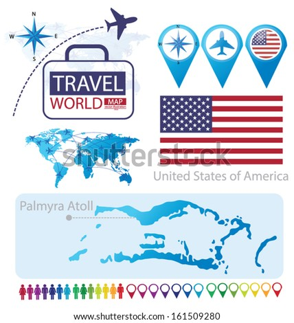 Palmyra Atoll. United States of America. flag. World Map. Travel vector Illustration. - stock vector