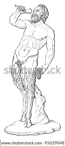 Pan (god of the wild, shepherds and flocks, nature, of mountain wilds, hunting and rustic music) / vintage illustration from Meyers Konversations-Lexikon 1897 - stock vector
