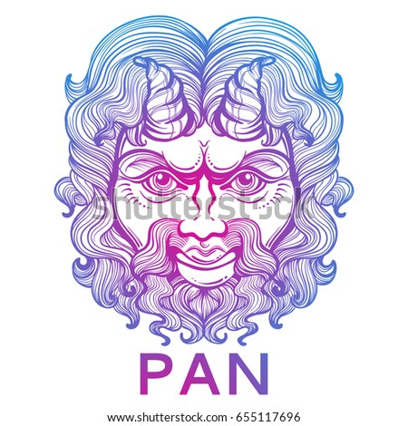 Pan God Fertility Wildlife Ancient Greek Stock Vector 655117696