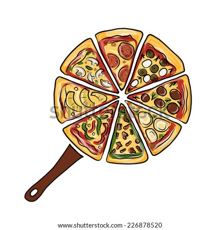 Pan with pieces of pizza, sketch for your design - stock vector