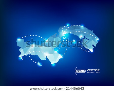 Panama country map polygonal with spot lights places