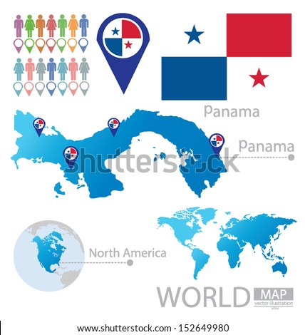 Panama. flag. North america. World Map. vector Illustration. - stock vector