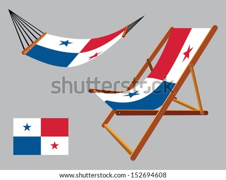 panama hammock and deck chair set against gray background, abstract vector art illustration - stock vector
