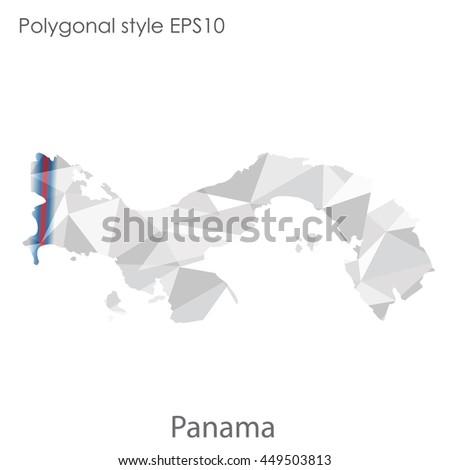 Panama Map Geometric Polygonal Styleabstract Gems Stock Vector - Panama map vector