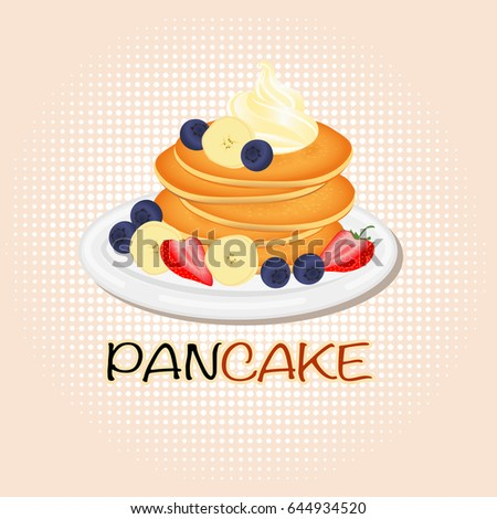 pancake with cream strawberry blueberry and banana split.sweet classic breakfast.vector illustration.