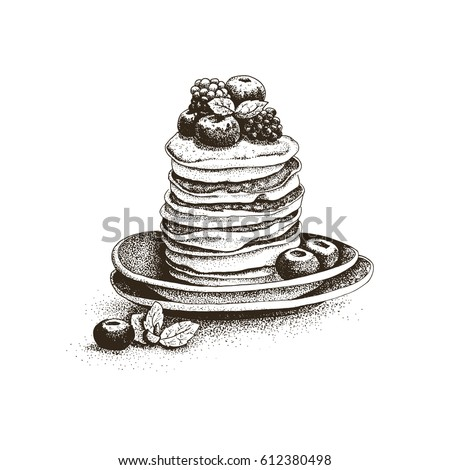 pancakes, pastries, sweets, tasty Breakfast in the vector graphics, hand-drawn, engraving, decoration of fruit, cake, cute greeting card, menu design restaurant, cafe, bakeries, cozy kitchen