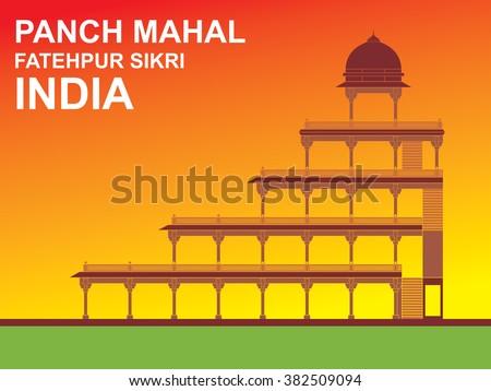 Panch Mahal, Fatehpur Sikri, India - stock vector