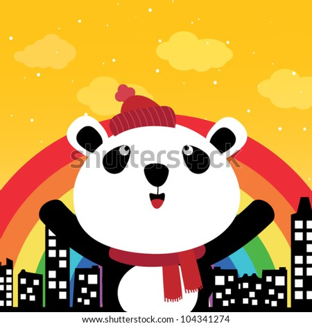 Panda and rainbow in the city - stock vector