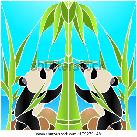 Panda and two baby / stained glass window - stock vector