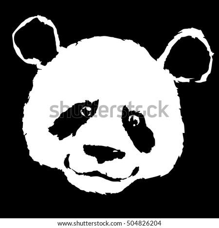 Ink Drawing Pandas Face Raster Stock Illustration 87602191