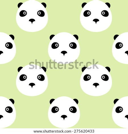panda bear logo icon green background seamless pattern