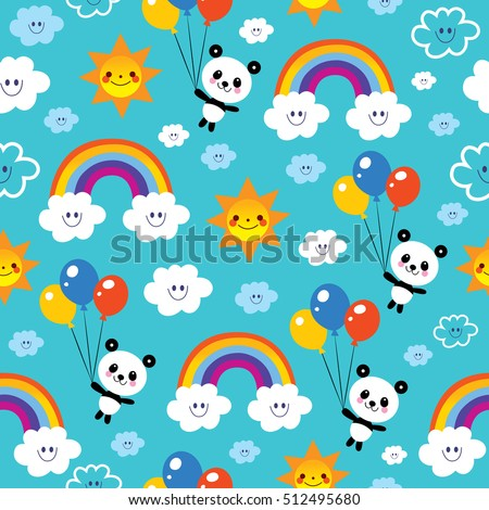 panda bear rainbows clouds sky kids seamless pattern