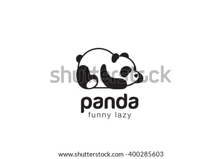 Panda bear silhouette Logo design vector template. Funny Lazy Logo Panda animal Logotype concept icon.