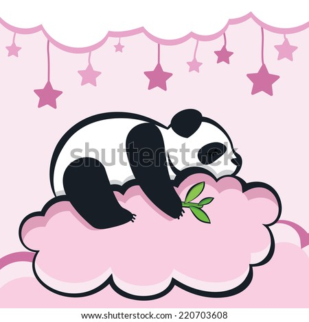 panda bear sleeping on the cloud, vector illustration. - stock vector