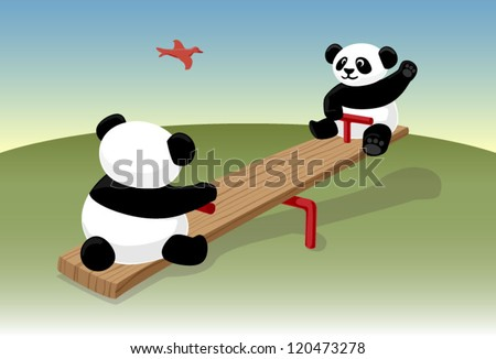 Panda bears on a see saw vector - stock vector