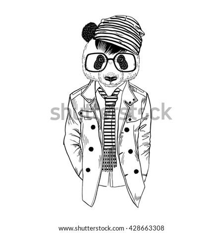 Panda Boy Dressed Up In Coat Furry Art Illustration Fashion Animals Hipster