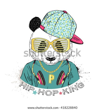 Panda Boy Dressed Up In Cool City Style Hand Drawn Graphic Hipster Animal Portrait