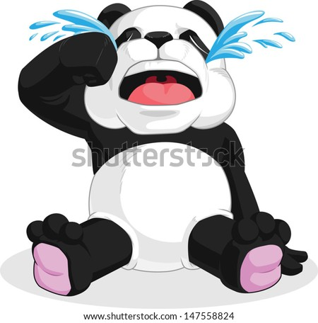 Panda Crying - stock vector