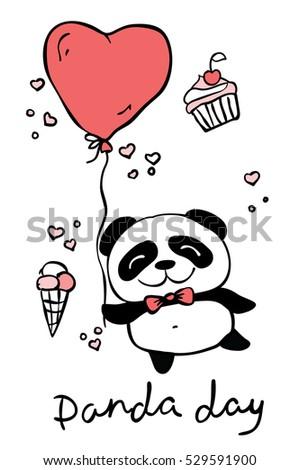 Panda Day Cute Panda Set Hand Stock Vector 516752365 - Shutterstock