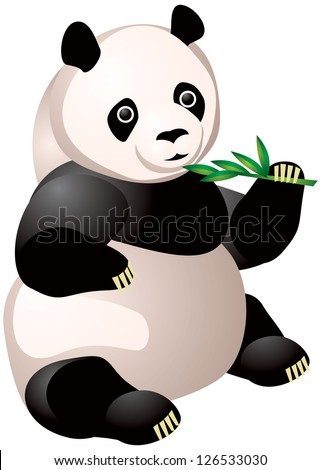 Panda eats bamboo branch vector illustration