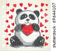 panda hugging heart doodle, fully editable - stock vector